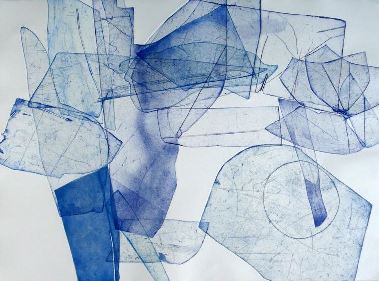 Abstract blue line drawing representing waste and garbage